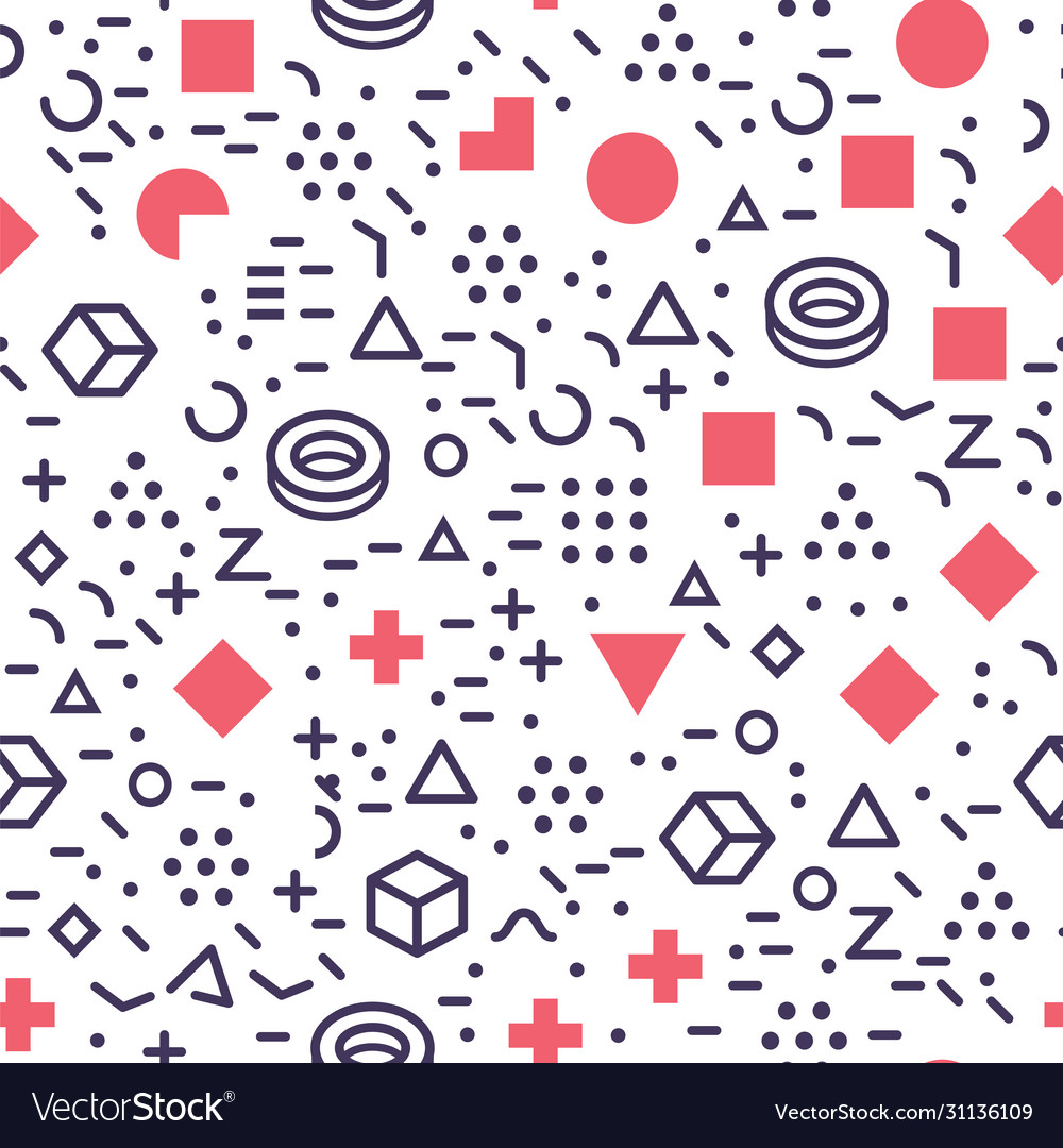 Isolated geometric shapes seamless pattern