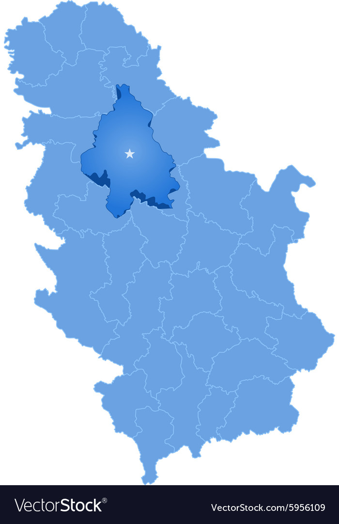 Map Of Serbia Subdivision City Of Belgrade Vector Image