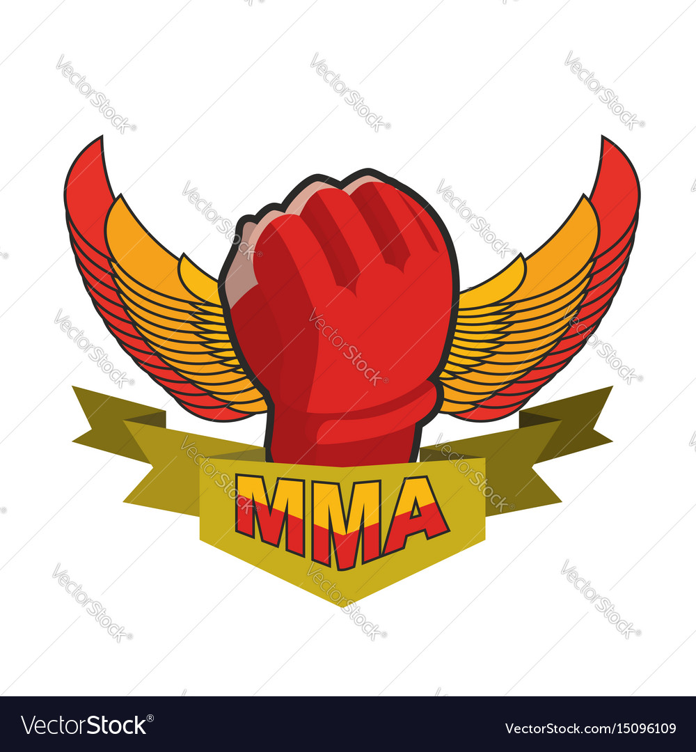 Mma logo fighting glove emblem for sports team