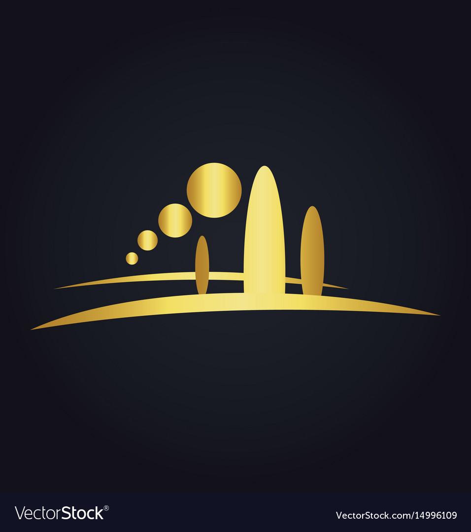 Pine tree mountain nature gold logo