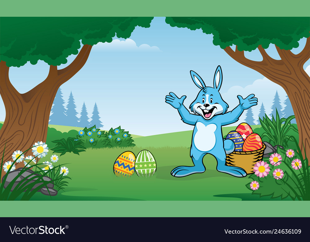 Rabbit on the forest with few of colorful easter