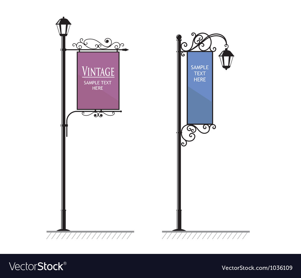 Vintage Lamp post sign vector image