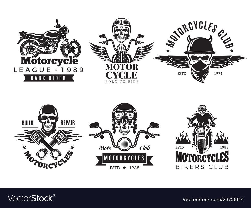 Biker labels vintage custom motorcycle and