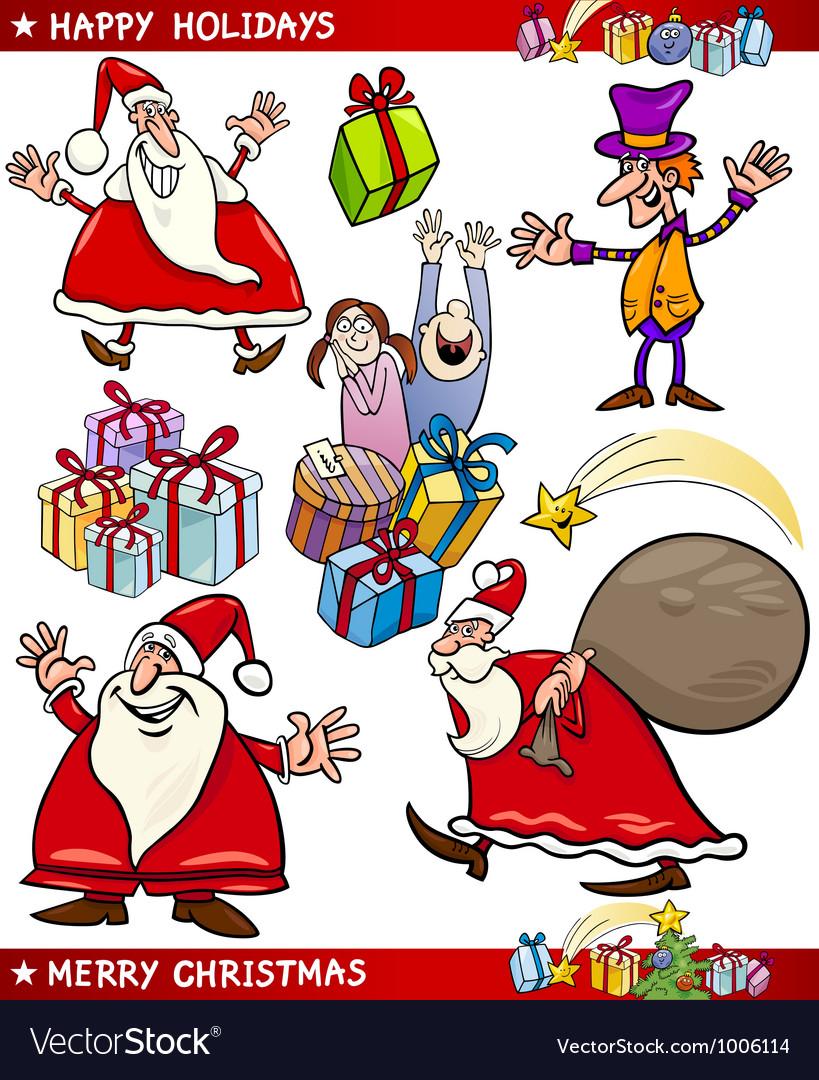cartoon set of christmas themes vector image - Christmas Themes Free