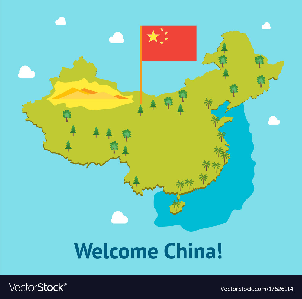 China Map Poster.Cartoon Travel China Welcome Card Poster Tourism Vector Image