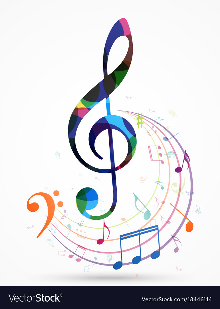 Colorful music notes background Royalty Free Vector Image
