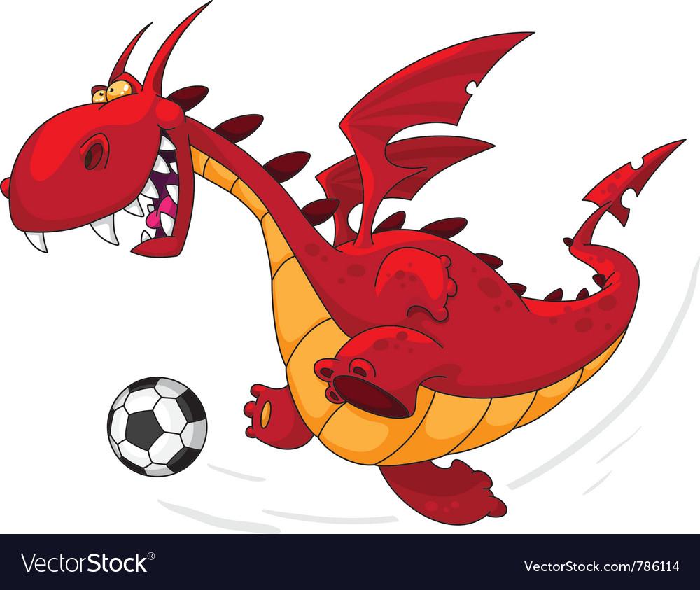 Dragon footballer vector