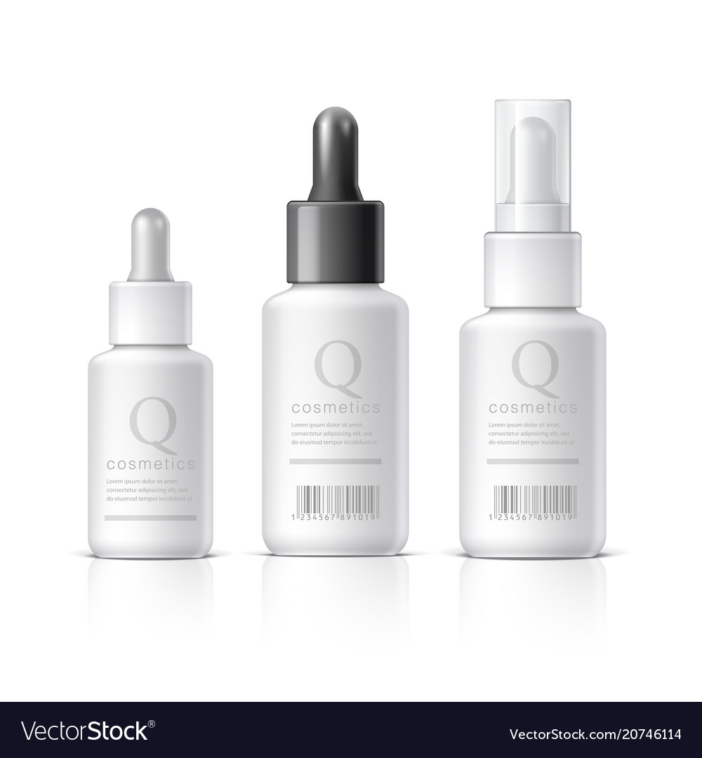 Essential oil set of cosmetic products on a white