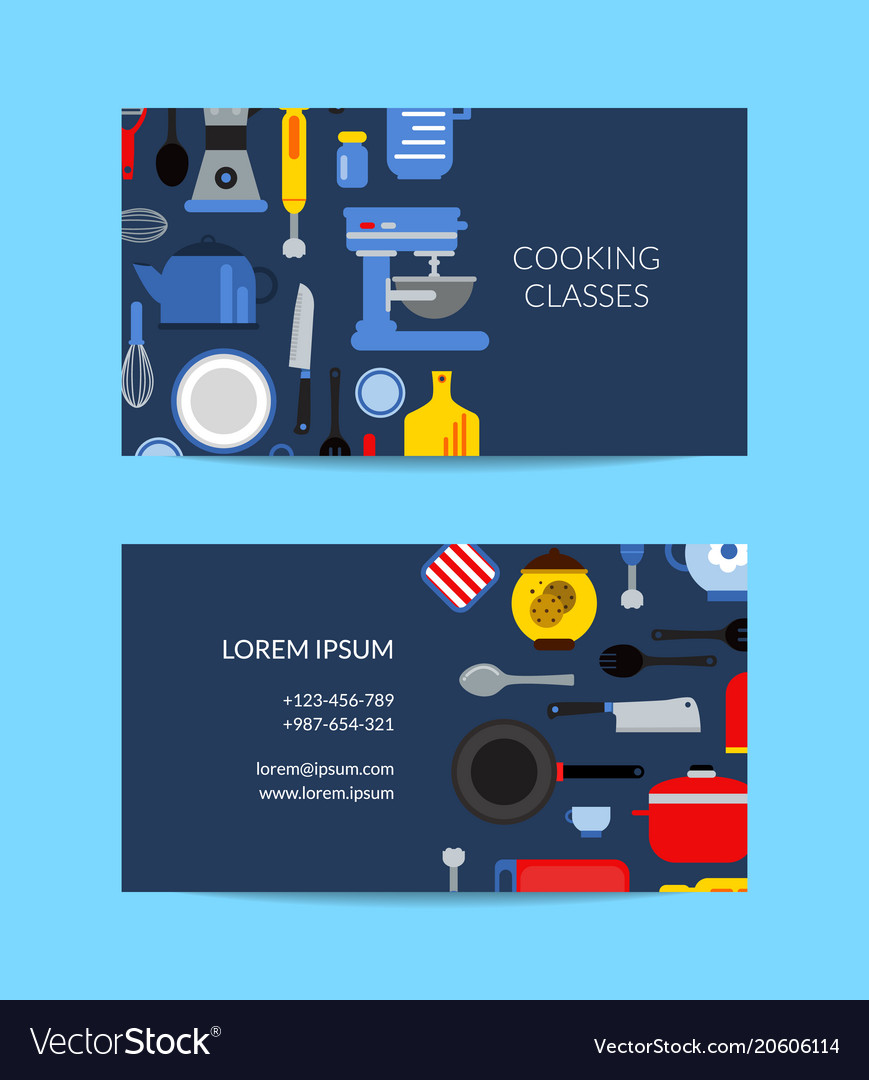 Flat Style Kitchen Utensils Business Card Vector Image