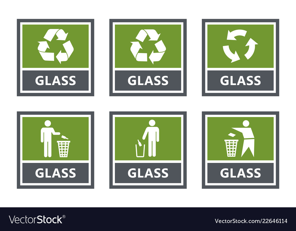Glass recycling labels set waste sorting icons