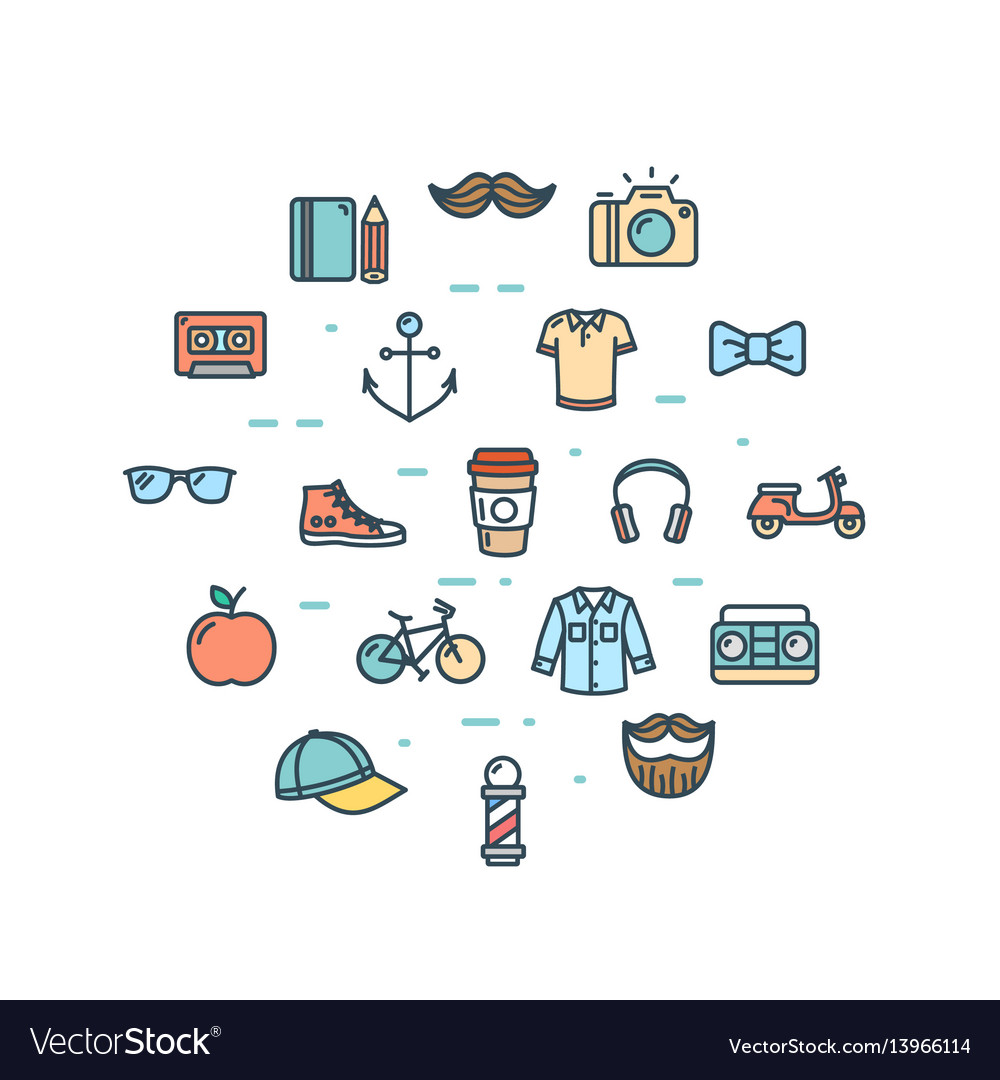 Hipster icon round design template thin line set