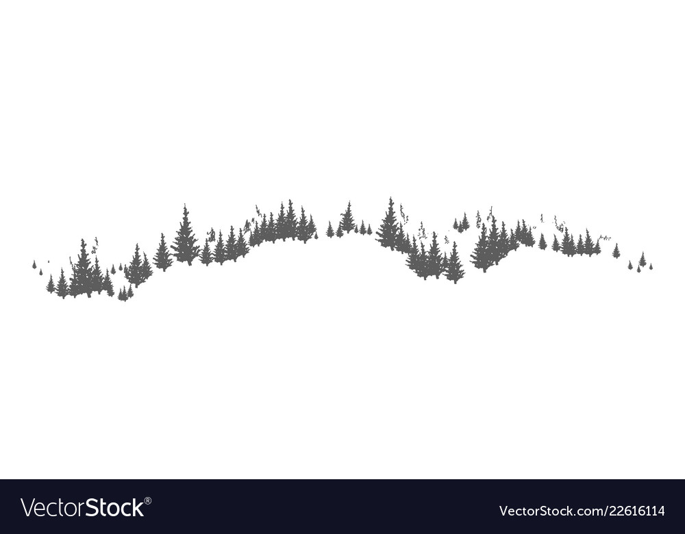 Horizon line with hand drawn silhouettes of