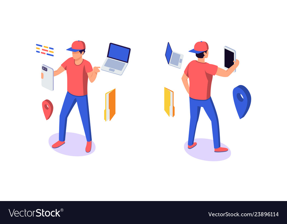 Isometric 3d young man character with gadgets
