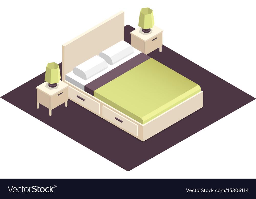 Isometric part of the bedroom interior design