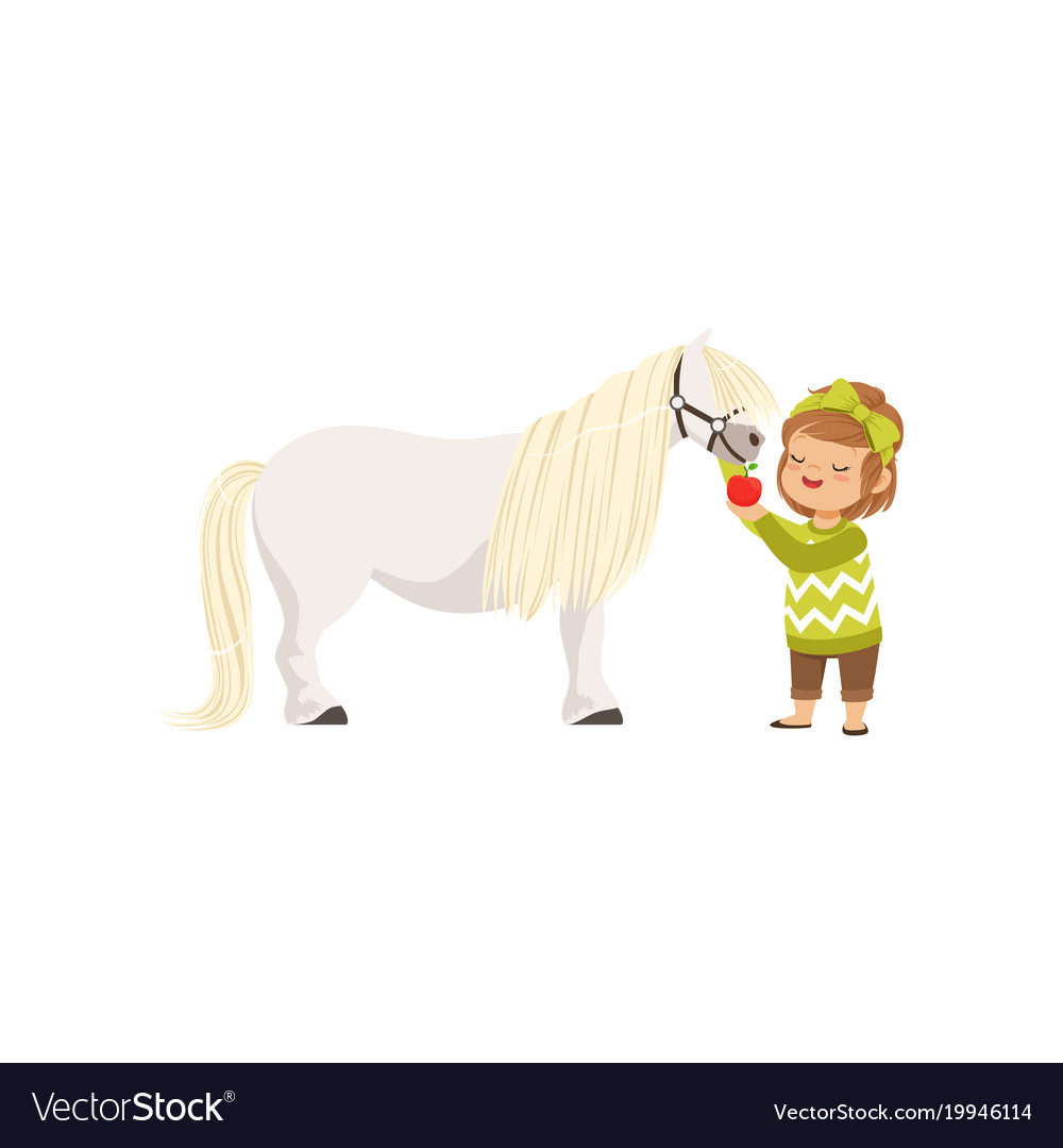 Lovely little girl taking care of her pony horse vector image