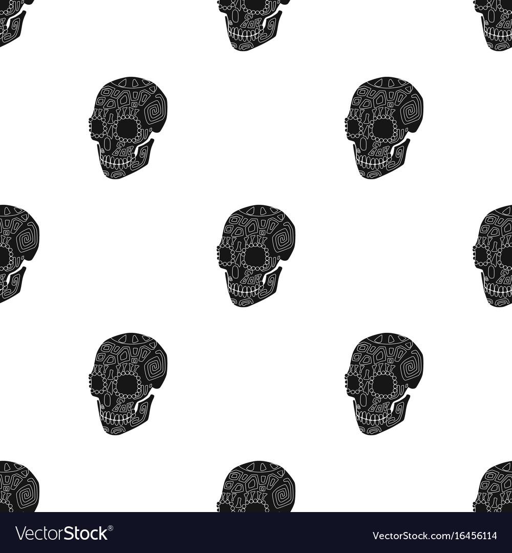 Mexican calavera skull icon in black style
