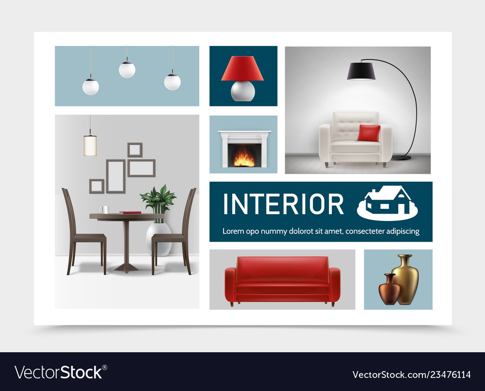 Realistic classic interior elements collection