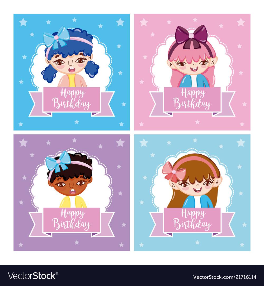Set of happy girls birthday cards royalty free vector image set of happy girls birthday cards vector image m4hsunfo