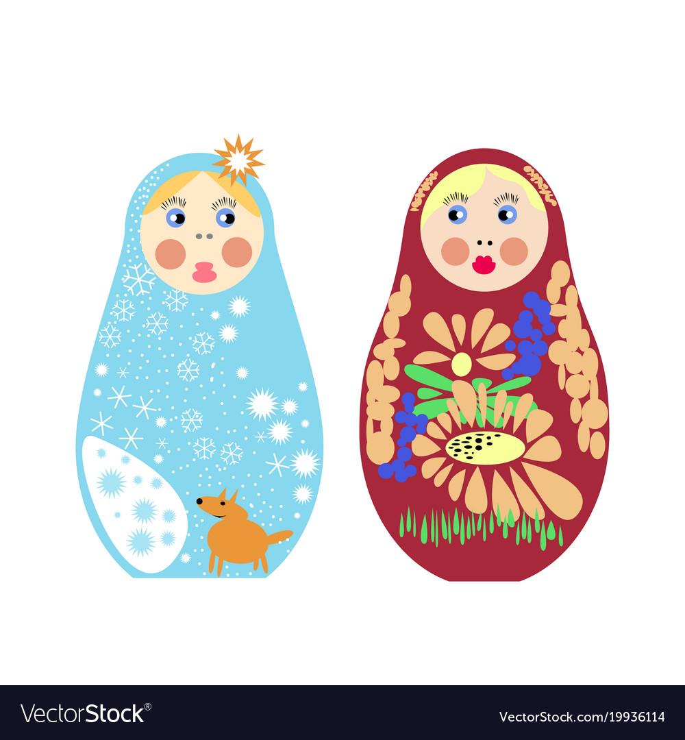 Set russian nesting dolls matryoshka