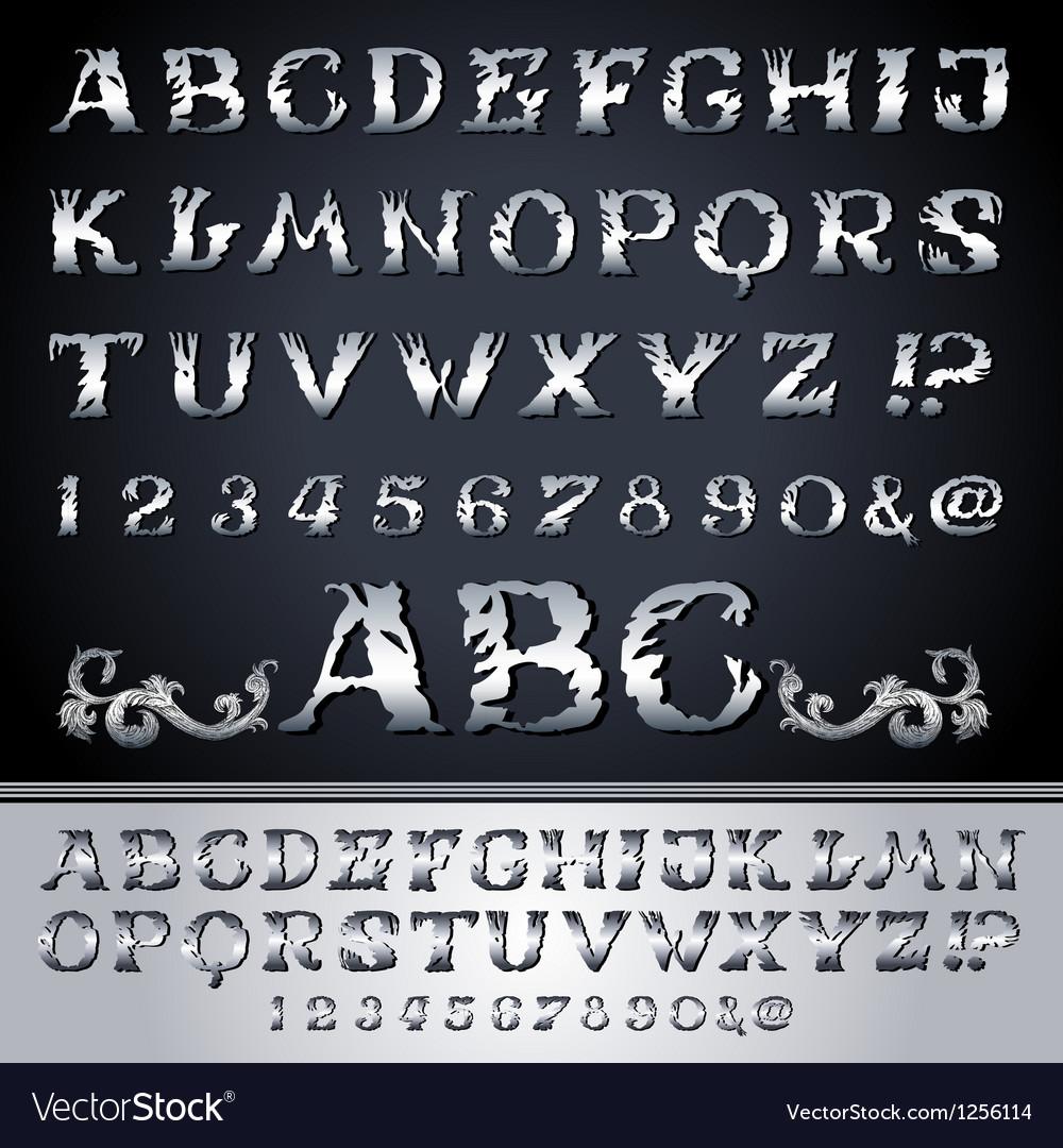 Vintage alphabet set on background