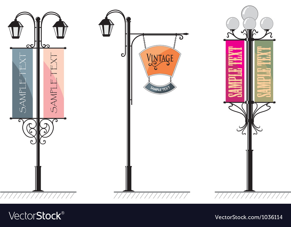 Vintage Lamp Post Signs vector image