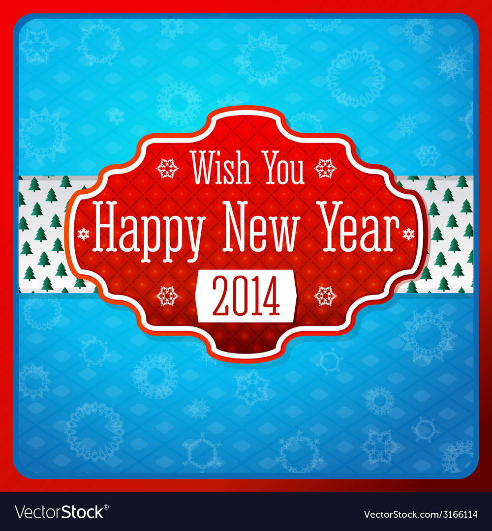 vintage stylized red new year label texture on vector image