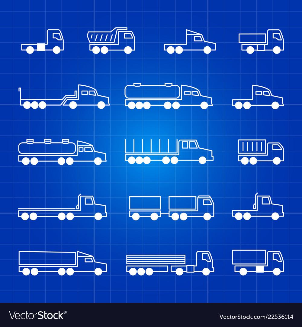 White truck line icons transportation