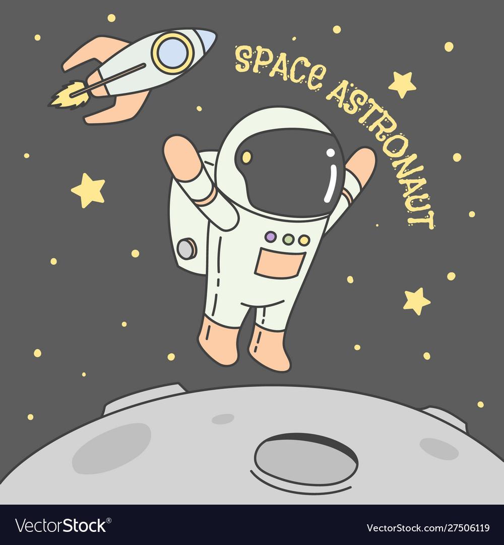 Astronaut rocket moon star in space