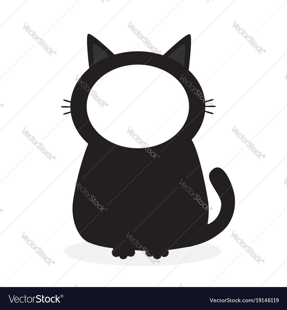 black kitten cat face frame template for photo vector image