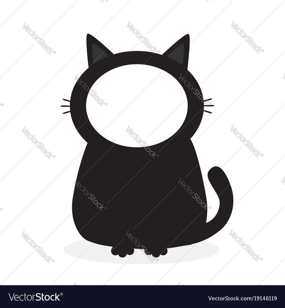 Black Kitten Cat Face Frame Template For Photo Vector Image