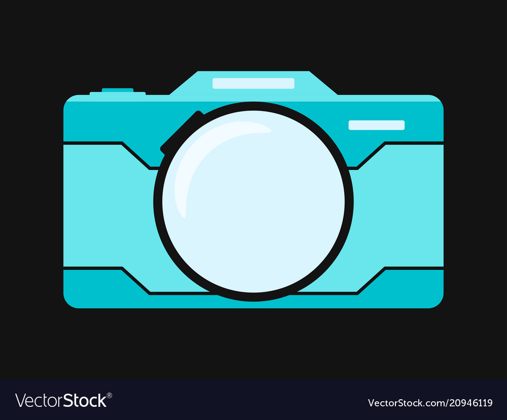 Blue flat camera isolated on black background vector image