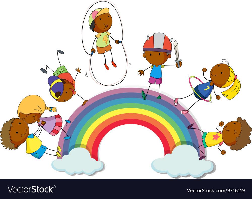 Boys and girls on the rainbow