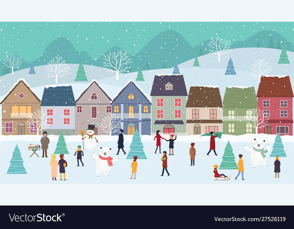 Christmas winter wonderland landscape with