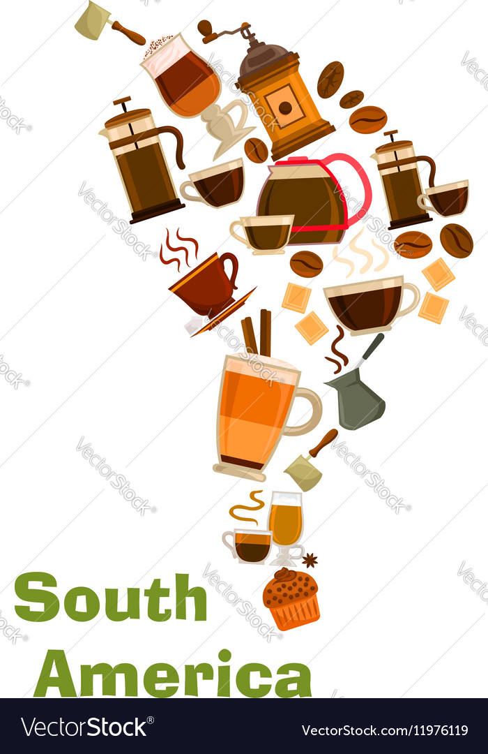 Shape Of Africa Map.Coffee In Shape Of South Africa Map Royalty Free Vector