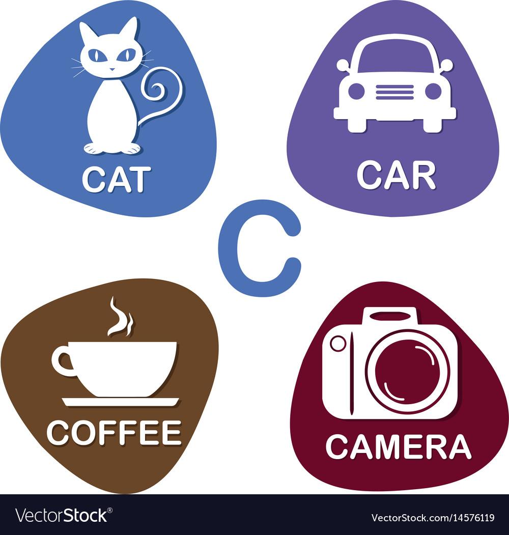 Cute alphabet in c letter for cat car