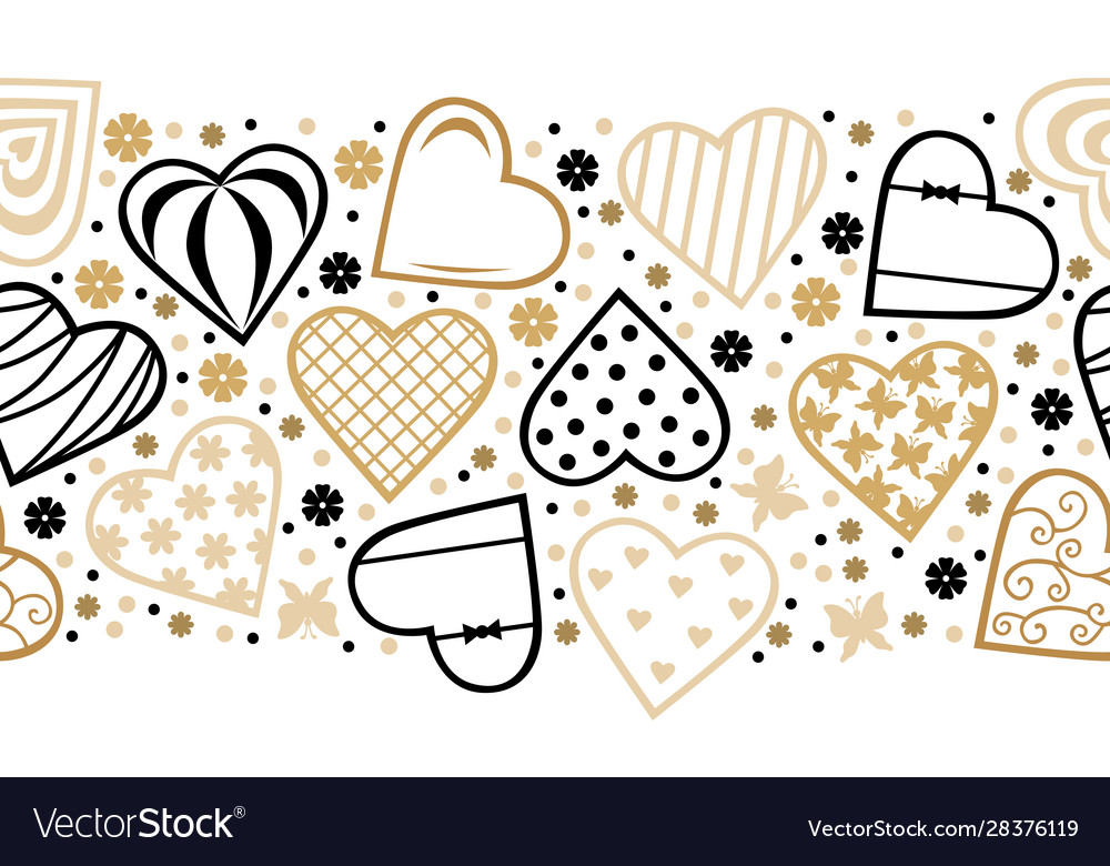 Decorative hearts horizontal pattern seamless