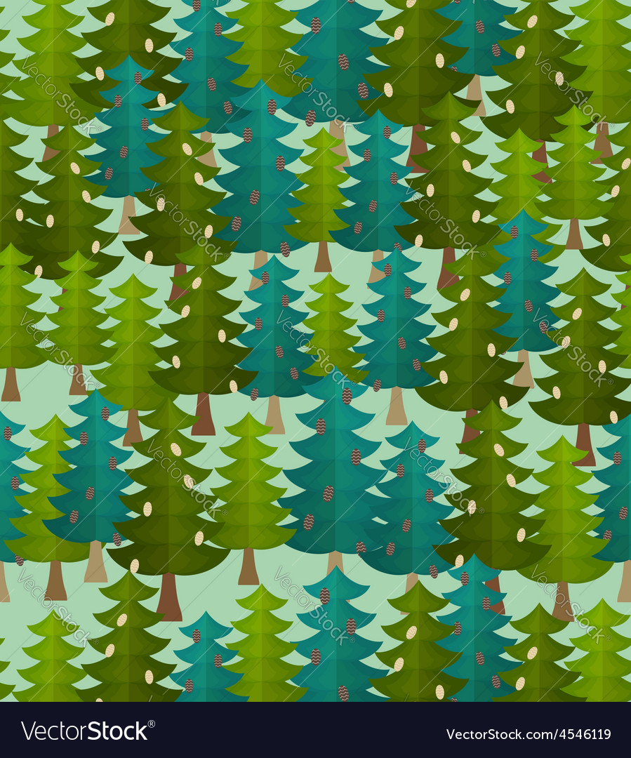 Forest seamless pattern Fir forest Christmas tree