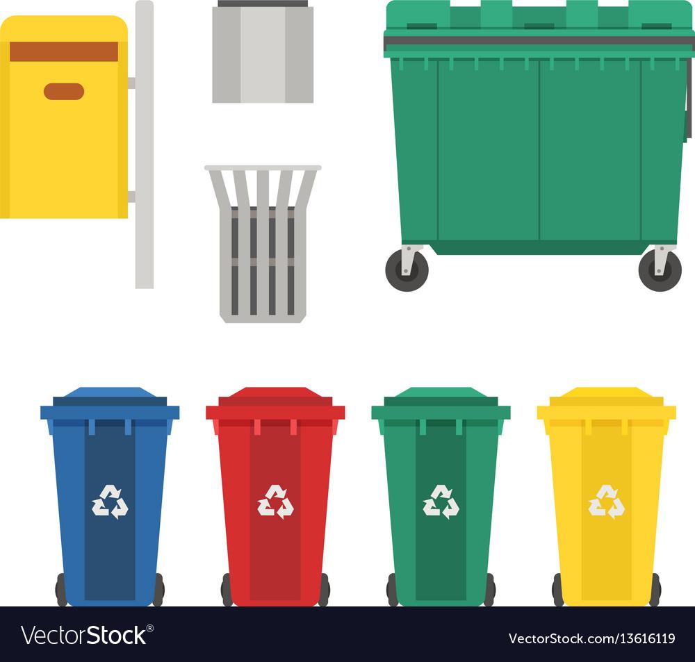 Garbage bins and trash cans set