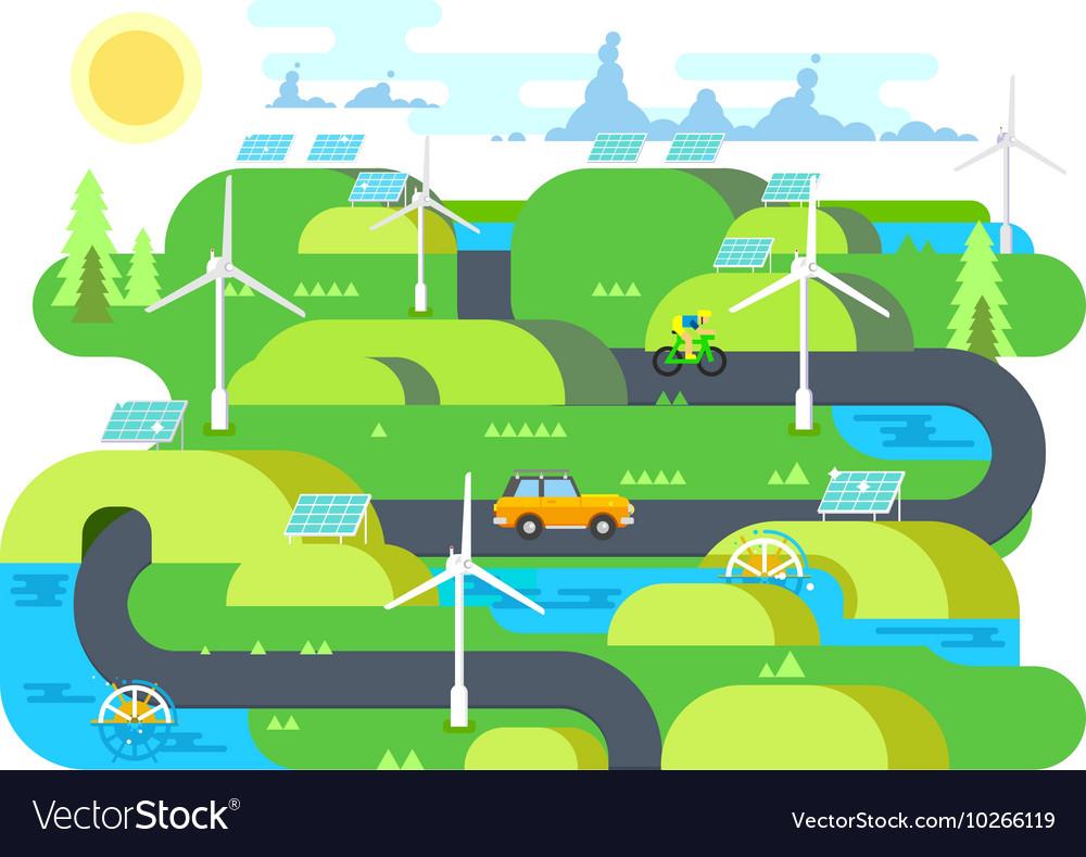 Green energy flat design vector image
