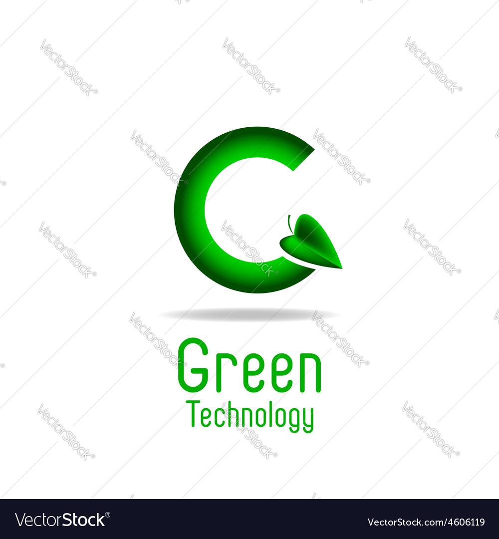 Green letter G and leaf eco technology logo mockup