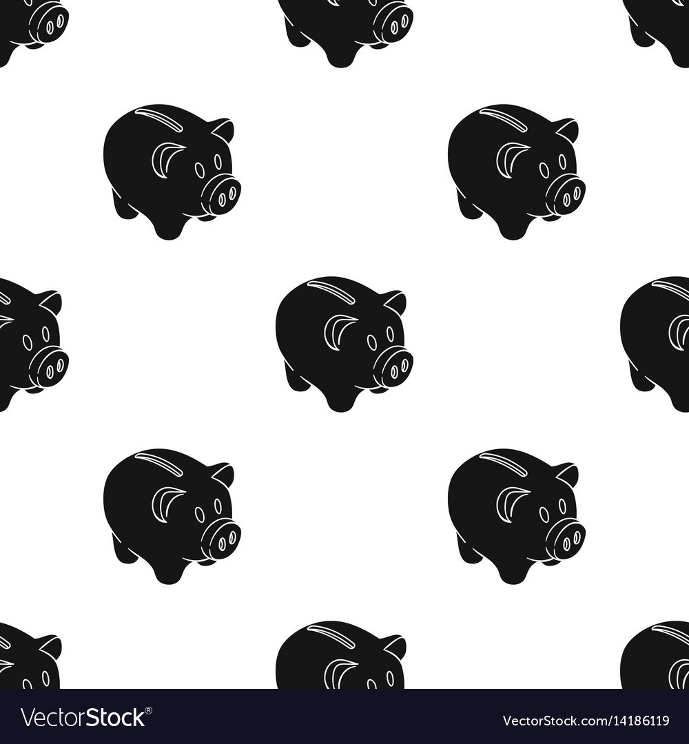 Piggy bank icon in black style isolated on white