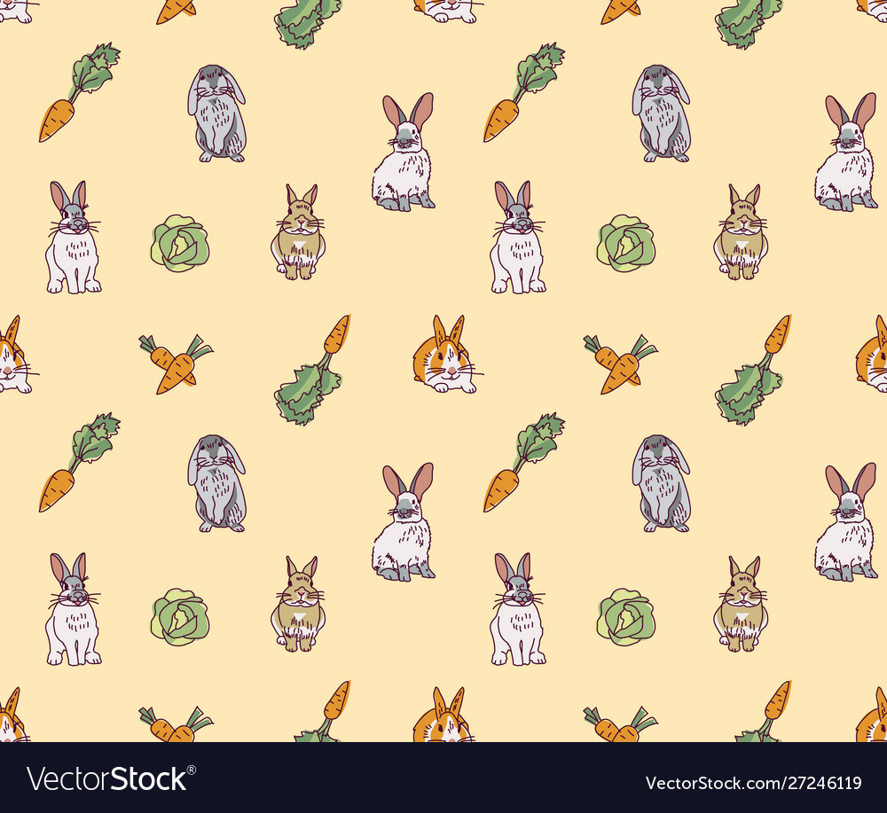 Rabbits pets animal cabbage and carrots seamless