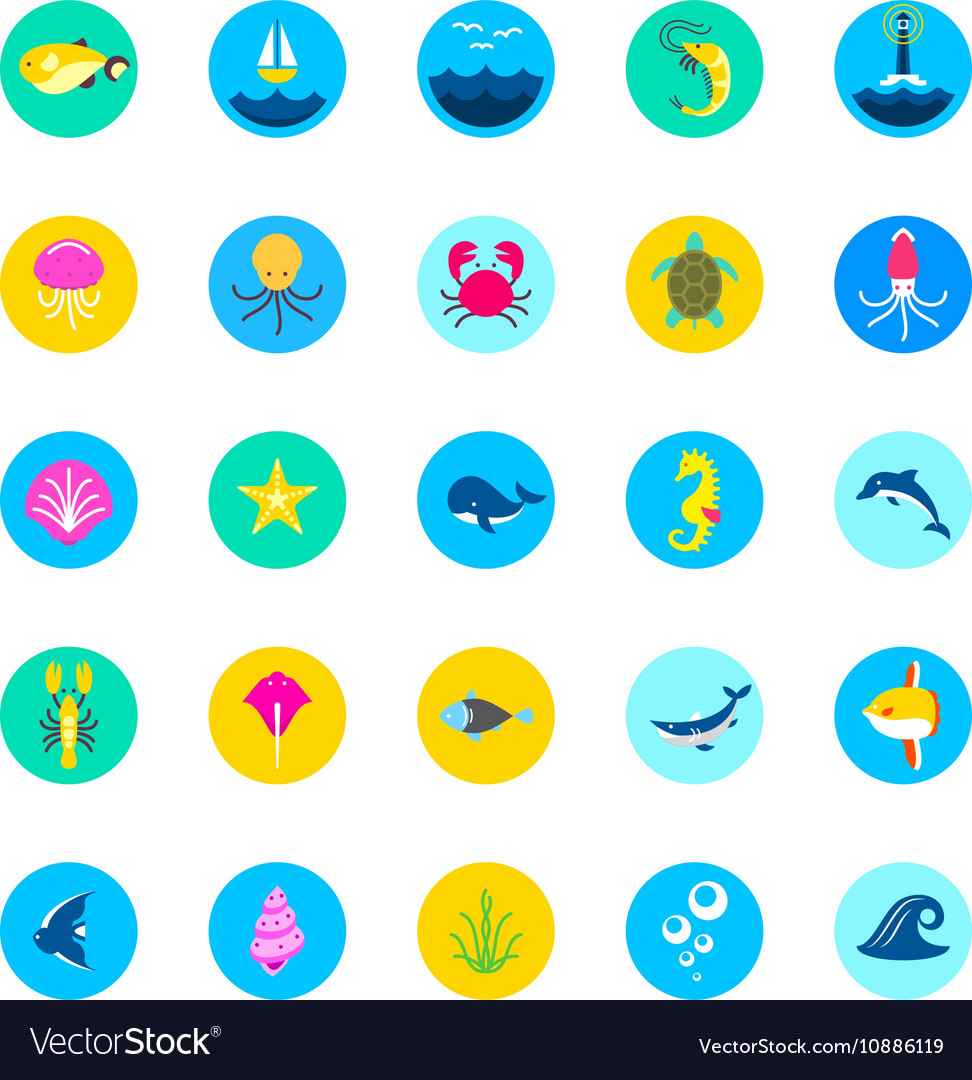 Set of 25 sea icons marine fishes and nature flat