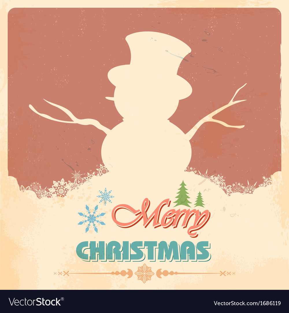 Snowman in Merry Christmas vector image