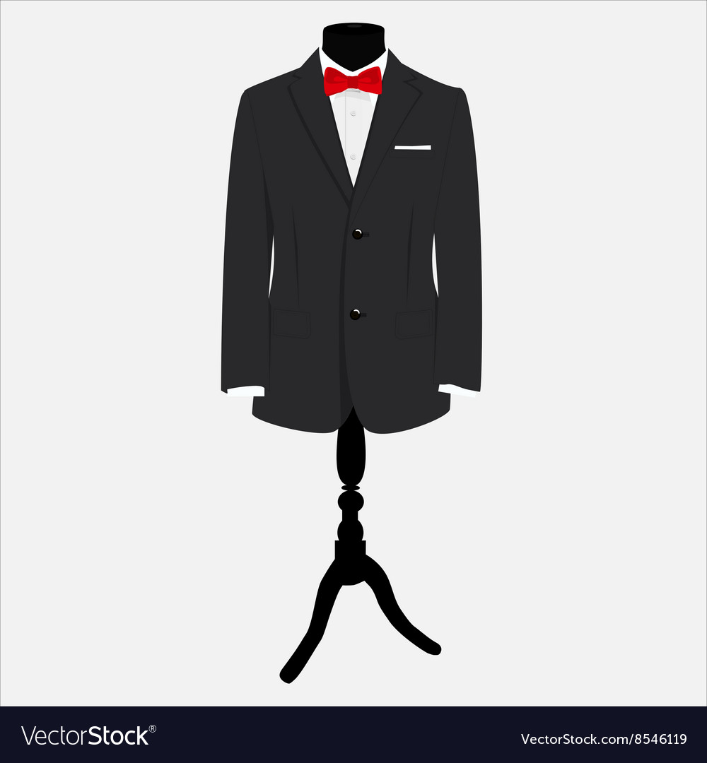Suit with red bow tie