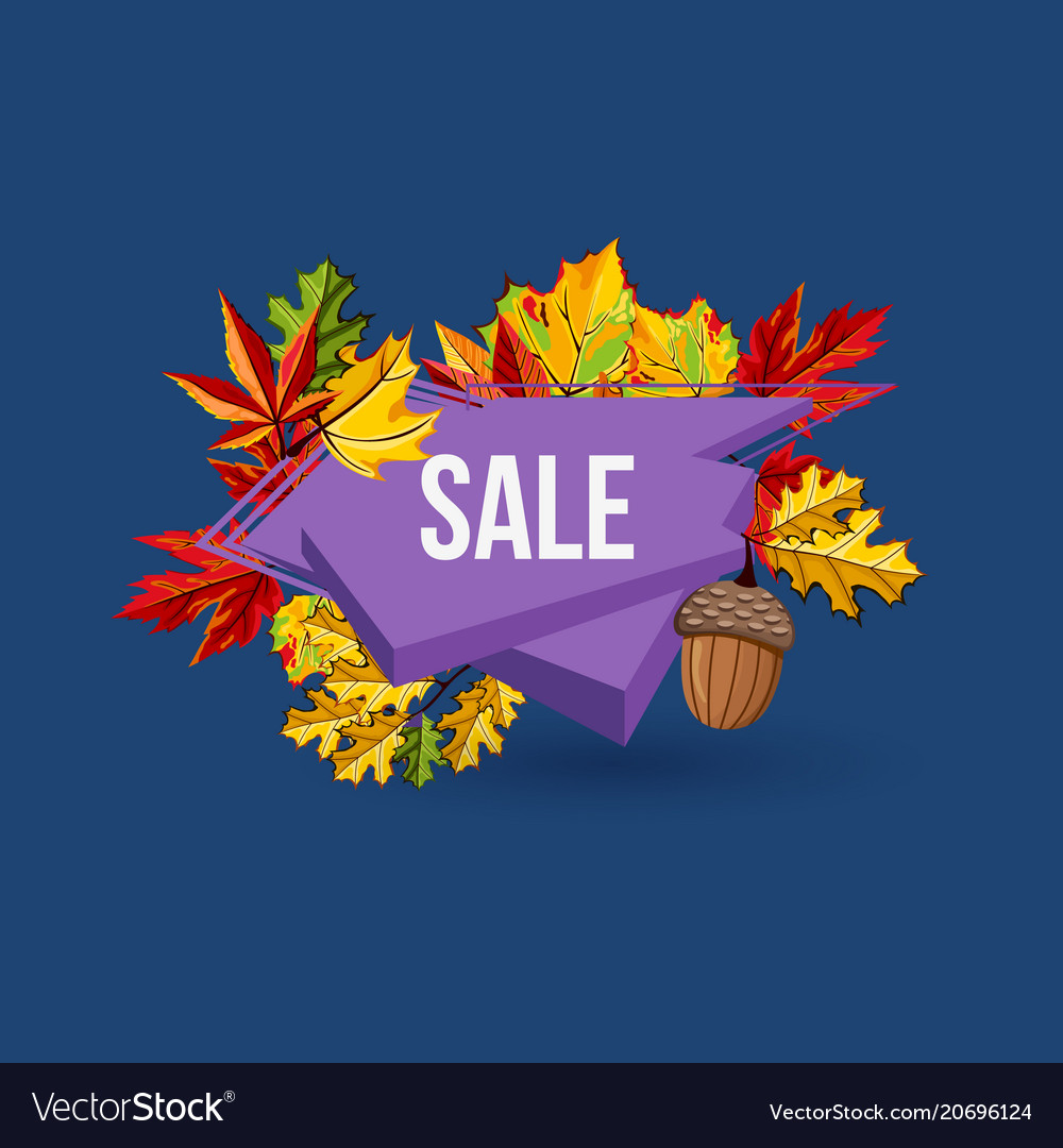 Autumn sale geometric label with leaves
