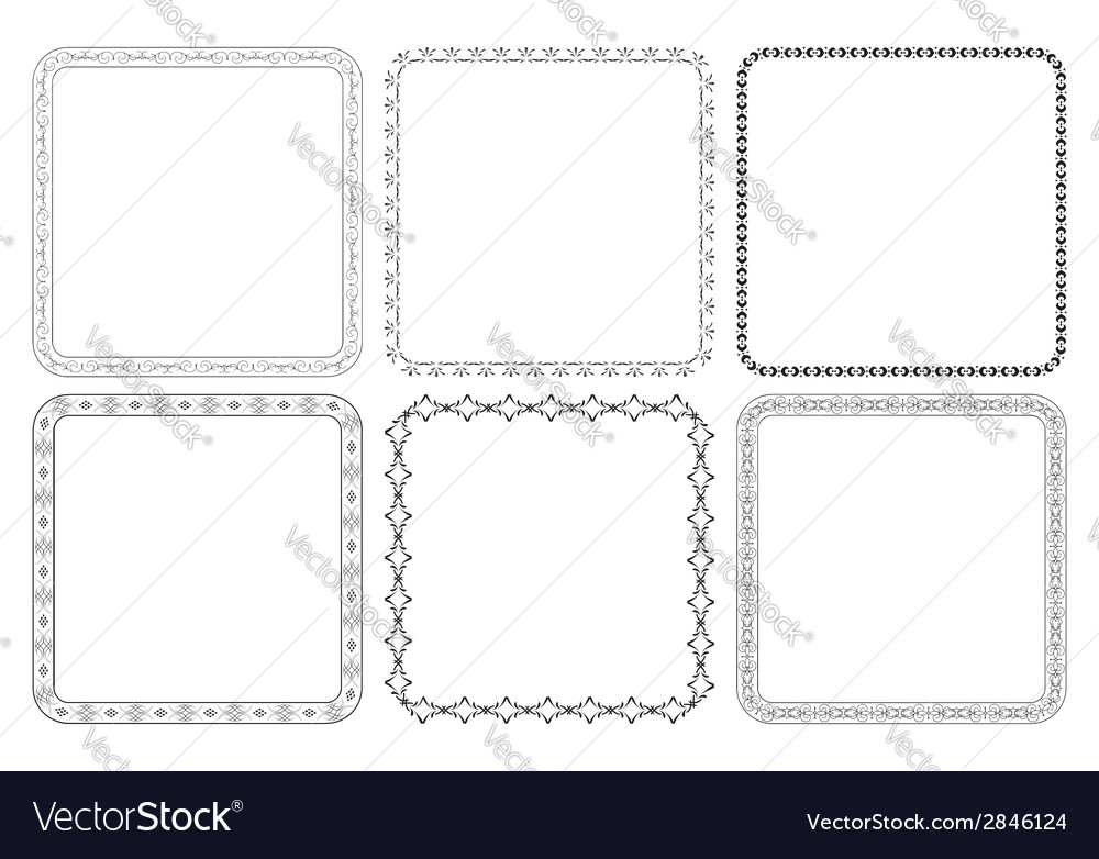Black decorative frames with ornaments Royalty Free Vector