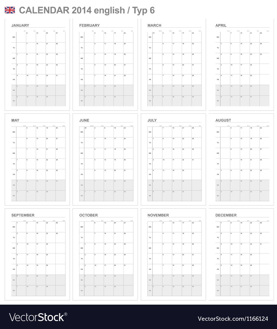 Calendar 2014 English Type 6