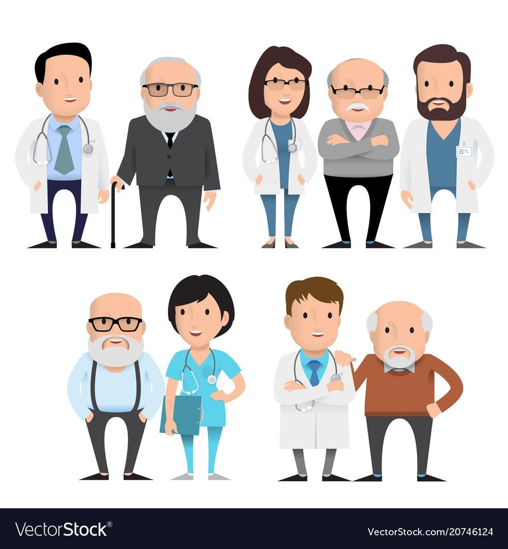 Characters doctors with elderly patients