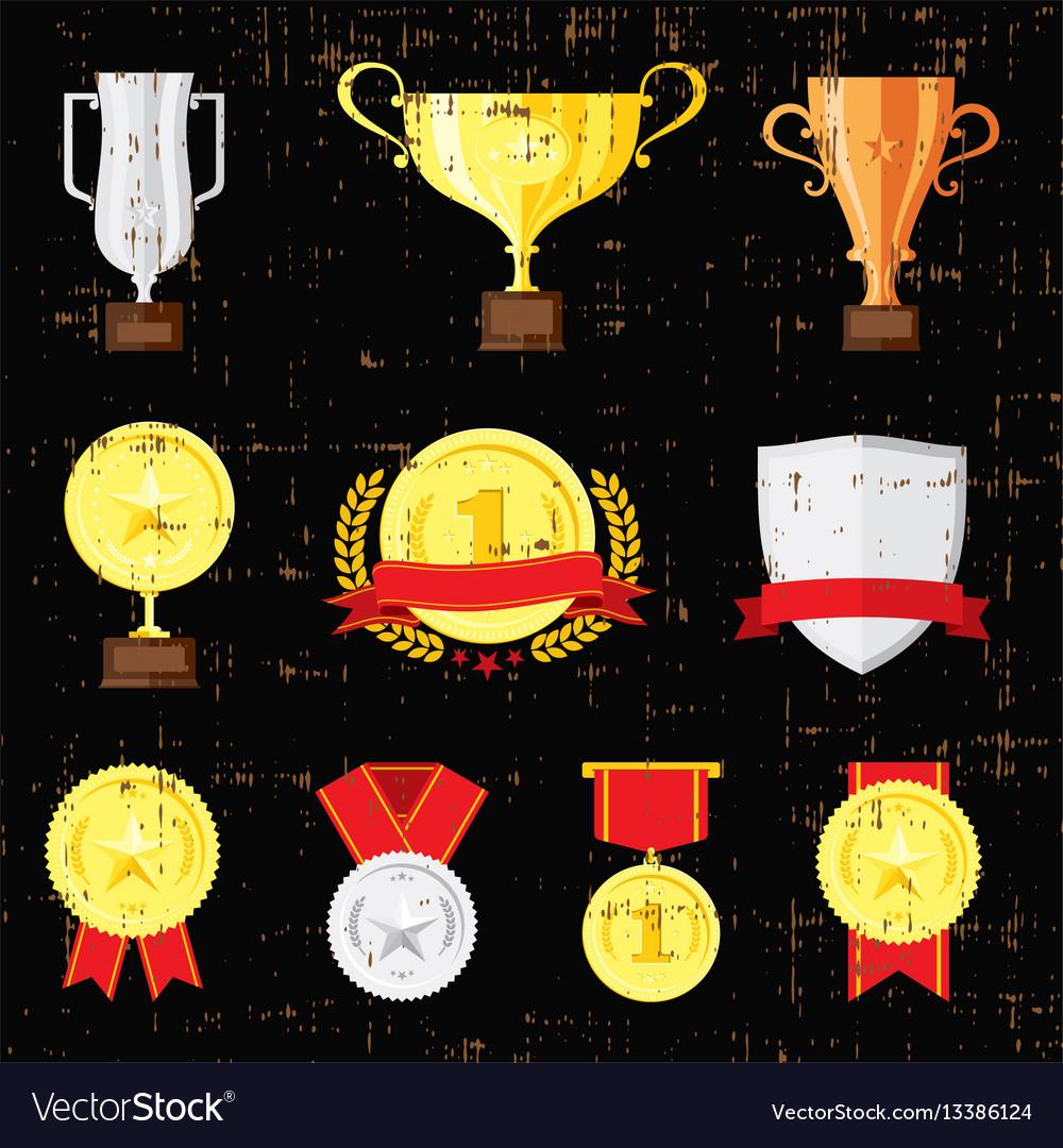 Different cups set on black background golden